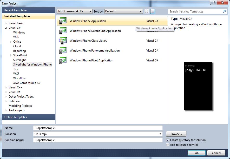 dropbox on windows phone 7 with dropnet dk development